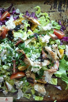 BBQ Chicken Chop Salad with Blue Cheese and Buttermilk Ranch Dressing by Heather Christo