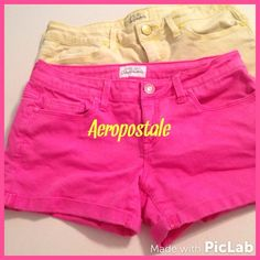 """""""Sweet As Sugah"""" shorts Perfect pair of cuteness!! Yummy lemon yellow and hot and pretty pink shorts by Aeropostale!! Each features a cuffed hem , side pockets and back pockets. Inseam is 3 inches. Get em cute girlie!! 98% cotton and 2% spandex for a lil stretch! Aeropostale Shorts"""