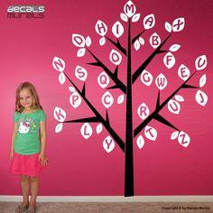 Wall Decals ALPHABET TREE Large vinyl art stickers by decalsmurals