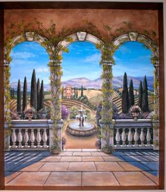 Tuscan Arches with vineyards mural