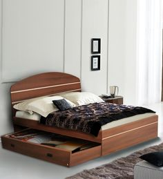 Pine Crest Bluez Queen Size Bed - With Storage in Rs. 13,761/-  Use Coupon : EASTER21  Buy Now : http://www.pepperfry.com/pine-crest-bluez-queen-size-bed-1121339.html?pos=1:1