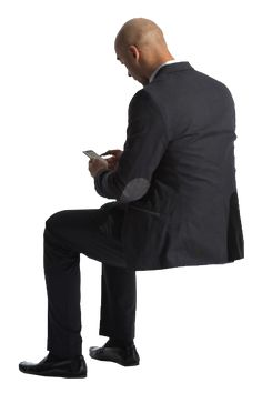cutout man sitting phone back