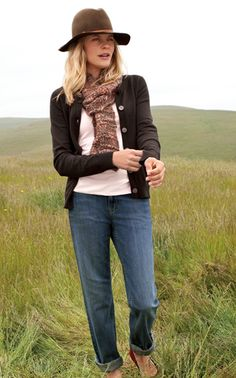 perfect cardigan in walnut with cami and the boyfriend jeans