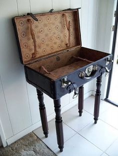 Good Idea!  Grab a funky old suitcase @ yardsale...rip off the legs of that old chair...and ...another recyject complete!