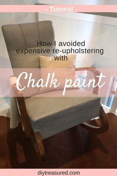 This makeover is just amazing!! Love the way this chair looks after painting! You get a complete tutorial about painting fabric with chalk paint. This worn out chair was beautifully updated with chalk paint. | diy | chalk paint | how to paint fabric | furniture makeover | upcycled | painting upholstery | before and after | step by step guide | rust oleum chalked | tutorial | makeover |  re-upholstering | upholstering