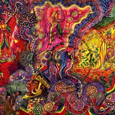 Don Pablo Amaringo Ayahuasca Painting 3 Psychedelic Art, Pablo Amaringo, Vision Art, Psy Art, Hippie Art, Aboriginal Art, Trippy, Illusions, Modern Art