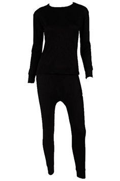 WuHou Womens 100 Cotton Thermal Underwear Two Piece Long Johns SetMediumBlack *** Check out this great product.(This is an Amazon affiliate link and I receive a commission for the sales)