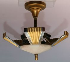 C1920 Art Deco Slip Shade Lamp Light Frame Fixture