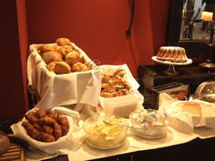 """Continental breakfast buffet of """"Cocktail hour"""": mini muffins, danishes, bagels, scones, fresh fruit, ect.."""