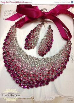 Bridal jewelry set wedding jewelry bib necklace by GlamDuchess