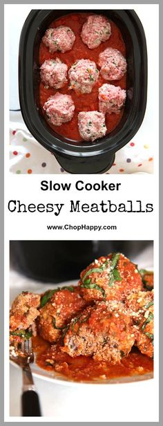 Slow Cooker Meatball Recipe - is the cheesy and easy way to get your family to have big smiles every bite. The key is ground beef, spices, fresh herbs (basil, parsley, and oregano, and 2 cheesy ingredients that make the meatballs super soft. Hope you love this recipe. www.ChopHappy.com