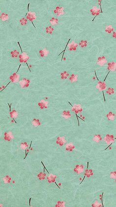 Pink cherry blossom on turquoise background pattern