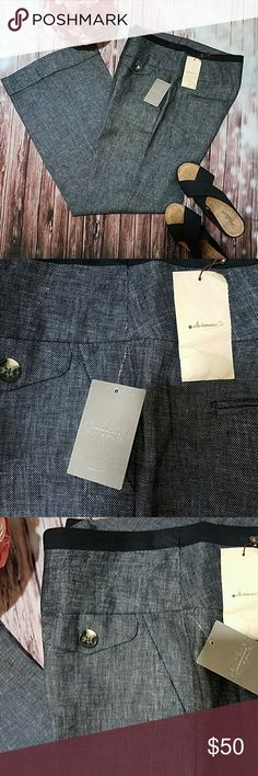 """Anthropologie Elevenses wide leg pants Dark blue. Size 12. Two flapped pockets on front. Two side pockets and 2 flat ones at back. Wide legs. Measurements pictured. Inseam -33"""" Anthropologie Pants Wide Leg"""