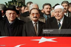This photo taken on February 8, 2002 in Ankara shows (From L) Turkey's former President Suleyman Demirel, Turkey's former Prime minister Bulent Ecevit and Turkey's former Prime Minister Necmettin Erbakan attending a funeral. Turkey's former president and prime minister Suleyman Demirel, a giant figure in the country's politics for over half a century, died on June 17, 2015, the state Anatolia news agency said. He was 90.