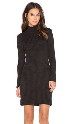 8987498fd6 525 america Rib Mockneck Dress in Dark Grey