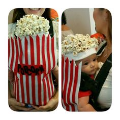 Baby's 1st costume. Someone else posted this costume and i thought it was so cute. Very easy to make. Velcro, felt, hot glue and popcorn!