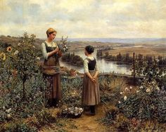 """Picking flowers"" ~~Daniel Ridgway Knight"