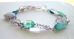 Blue Lace Agate, Amethyst, Apatite, Lilac Stone, Fluorite, and Mountain Jade Bracelet of Expression, Stability, and Calm by Anais Aine Jewelry, $135.00 USD