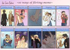 KSB - 10 ways of flirting meme by x-Lilou-chan-x on DeviantArt Kawaii, Ichimatsu, Flirting, Gay, Deviantart, Humor, Memes, Cute, Anime