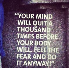 I love this quote, because it's so true. Our bodies can do so much more than our minds think we can so go out there and do it anyway! Fitness Motivation Pictures, Fitness Quotes, Workout Quotes, Running Quotes, Workout Motivation, Exercise Quotes, Life Motivation, Fitness Blogs, Insanity Motivation