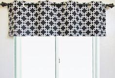 One Grommet Curtain valance 50'' x 16'' Premier Prints Gotcha black white grey red yellow pink green navy blue aqua lime window topper