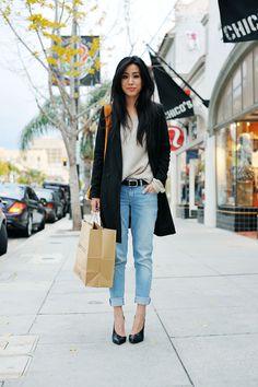 Rodebjer blazer, vintage knit, Alexander Wang tote, Zara jeans and heels.