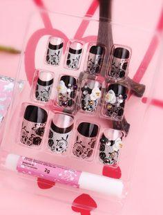 Modern Black Resin Peony Pattern Nail Stickers - Milanoo.com