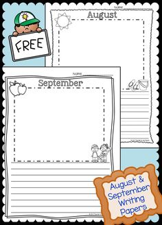 FREE August and September Writing Pages.  K through Grade 4 -- Variety of lines.