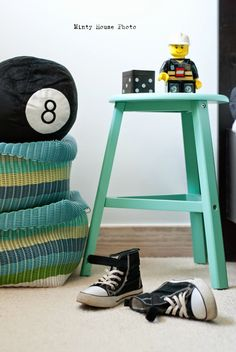 Minty House, Ignacy room, boy room, Black & White, turquoise, Lego