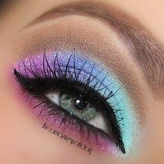 Purple, blue, green and pink eyeshadow.