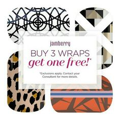 Jamberry wraps are always Buy 3 Get 1 free, some exclusions apply.  Check out all the awesome wraps at donnasharp123.jamberry.com