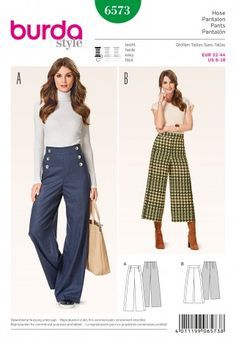 Burda Ladies Easy Sewing Pattern 6573 High Waist Wide Leg Trousers | Sewing | Patterns | Minerva Crafts