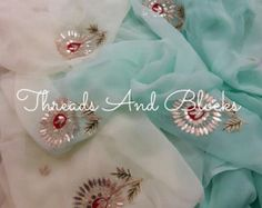 Pure Chiffon Saree with Blouse Piece by Threadsandblocks on Etsy