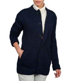 Navy Blue Zipped & Button Cardigan   Womens & Mens    British Wool