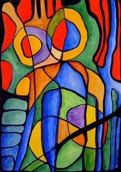 Vitral, ST acrylic with / 29 x 42 cm. Cubism Art, Indian Paintings, Stained Glass Art, Gravure, Geometric Art, Art Techniques, Oeuvre D'art, Les Oeuvres, Bunt