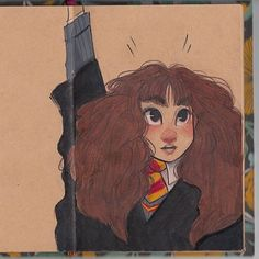 """This counts for #Inktober? I use ink I swear! Hahaha. But I can't not use my Prismacolors! Someone commented """"Harry Potter series!"""" but Sorry! I'm not a HP fan... But I like #Hermione! So she is my first sketch for Inktober+Prismacolor hahaha."""