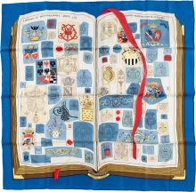 """Luxury Accessories:Accessories, Hermes 90cm Blue, White & Red """"Chiffres et Monogrames,"""" by..."""