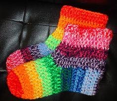 Sooz In The Shed...: Rainbow Crochet Slipper Socks