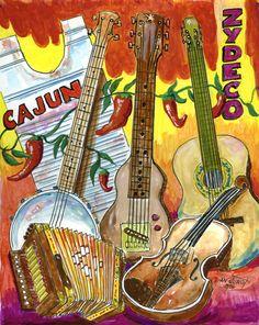 """Cajun Zydeco"" by South Louisiana Artist Dan Junot"