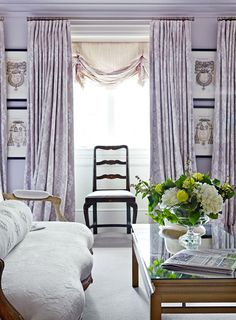 Another view of the lilac and white bedroom.  Blackout lined draperies over a London shade -- glamour and light control.
