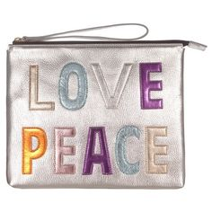 House Of Cases Love Peace Clutch (£58) ❤ liked on Polyvore featuring bags, handbags, clutches, carteira, silver, peace sign handbags, embroidered handbags, pink handbags, metallic clutches and metallic purse