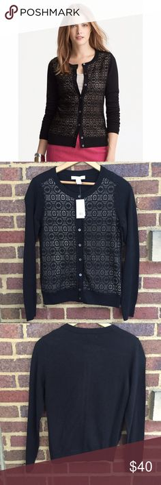 """Banana Republic Lace Front Cardigan Gorgeous cardigan with laser cut lace pattern on the front. Button closure. 23"""" shoulder to hem, 18"""" armpit to cuff.   🚫Trades / Lowball ✨Reasonable Offers Welcome 💰Bundle Discount Offered  📬 Ships in 1-2 Days Banana Republic Sweaters Cardigans"""