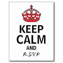 Keep Calm and RSVP Wedding Postcard