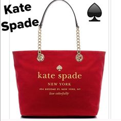 "NWT  ♠️Kate Spade♠️  East Broadway Collection. Kate Spade East Broadway Tote Collection in Dynasty Red.  Canvas w/patent PVC trim. Shoulder bag with open top and a dog clip closure. 14-kt Gold light plated hardware and Gold print on bag. Interior is a red Signature Kate Spade print sateen fabric w/ 2 slip pockets and a zip pocket. Shoulder strap w/9.5"" drop. Measures approx 17""x11""x7"" B super cute. Price is firm. kate spade Bags Totes"