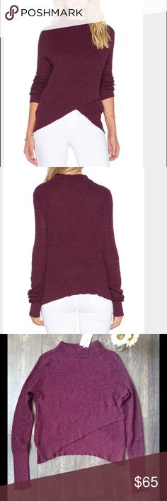 "💞 Free People Boho Wrap Sweater in Plum 💞 NWT, a couple loose threads but no holes - it's a pretty delicate sweater, crosses in the front at the waist, the sleeves are nice and long (I can't stand when sleeves are too short and these are awesome!), bust is 20"" laid flat length is 18"" in the shortest part and 24"" at the longest Free People Sweaters"