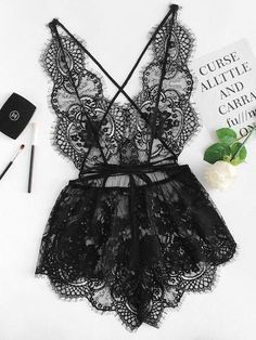 Shop Eyelash Lace Deep V Neck Sleep Romper online. - Shop Eyelash Lace Deep V Neck Sleep Romper online. Shop Eyelash Lace Deep V Neck Sleep Romper online. Jolie Lingerie, Satin Lingerie, Lingerie Outfits, Pretty Lingerie, Lingerie Sleepwear, Lingerie Set, Women Lingerie, Black Lace Lingerie, Teddy Lingerie