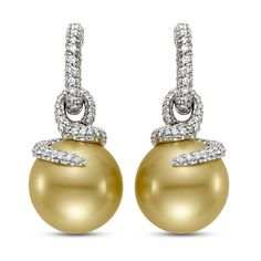 Earrings In 18k Gold With 15 5 Mm Natural Colored Golden South Sea Pearls 1 75