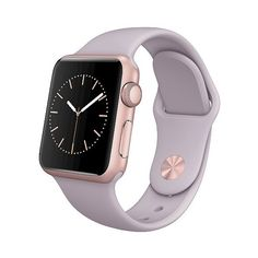 Apple Watch 38mm Rose Gold Aluminum Case with Lavender Sport Band (€195) ❤ liked on Polyvore featuring jewelry, watches, rose gold, pink gold jewelry, sport watches, apple jewelry, sports watches and apple wrist watch