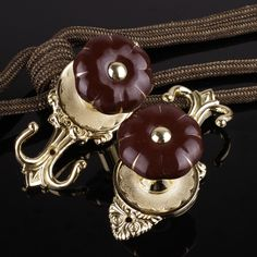 2 Colors QYM68 Round Pumpkin Curtain Tieback Holdbacks in Brown Color