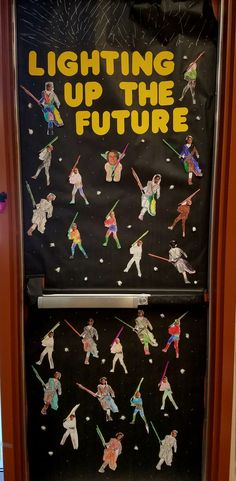 Lighting up our future classroom door for star wars. May the fourth or force be with you. I used straws for the light saber's - Decoration For Home Star Wars Classroom, Future Classroom, Classroom Themes, Space Classroom, Christmas Classroom Door, Teacher Christmas Gifts, Teacher Gifts, Christmas Door, School Door Decorations